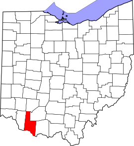 Location of Brown County in Ohio state